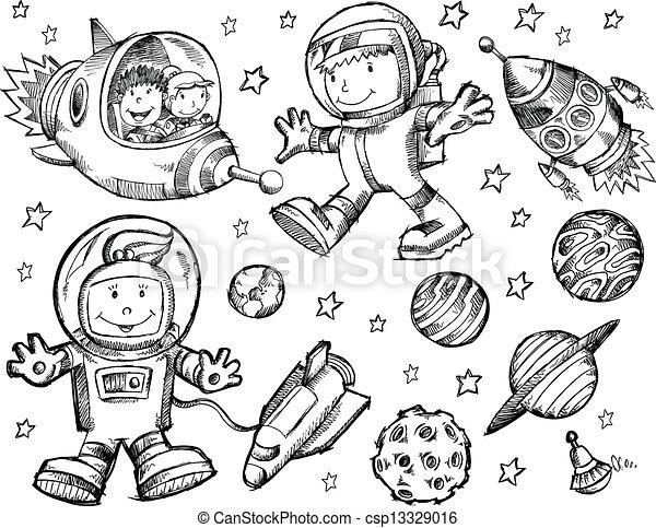 doodle, schets, vector, buitenste ruimte - csp13329016
