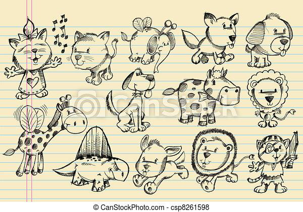 doodle, schets, vector, set, dier - csp8261598