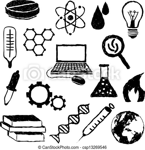 science doodle drawings drawing vector clipart clip line icons eps graphic canstockphoto