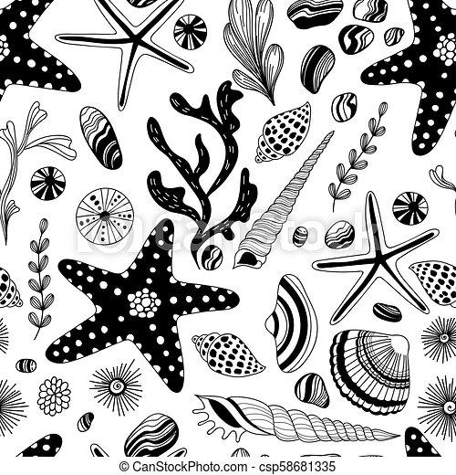 Doodle sea shells pattern - csp58681335