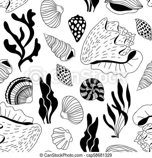 Doodle sea shells pattern - csp58681329