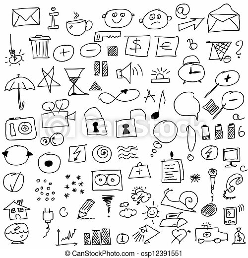 Doodle set hand drawn icon csp12391551