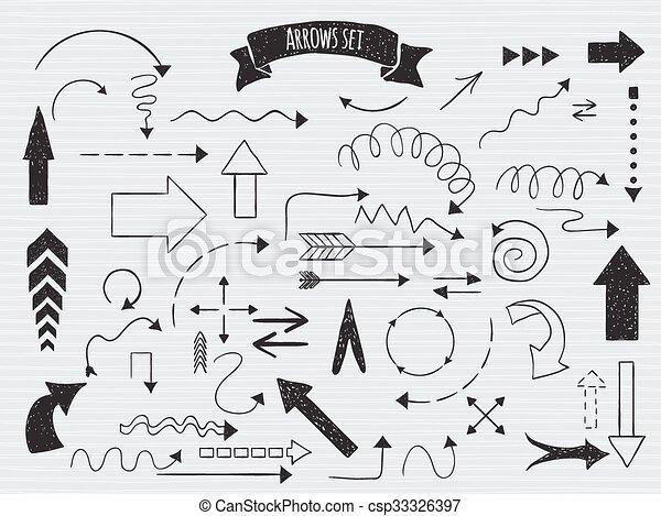 Doodle set of arrows. - csp33326397