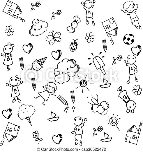 Doodle set of objects a funny - csp36522472