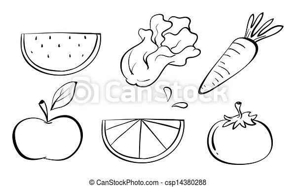 Doodle sets of fruits  - csp14380288