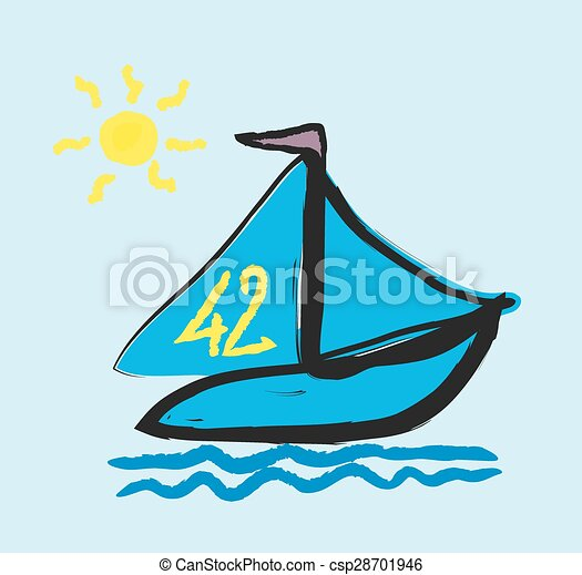 doodle simplified sailboat on waves - csp28701946