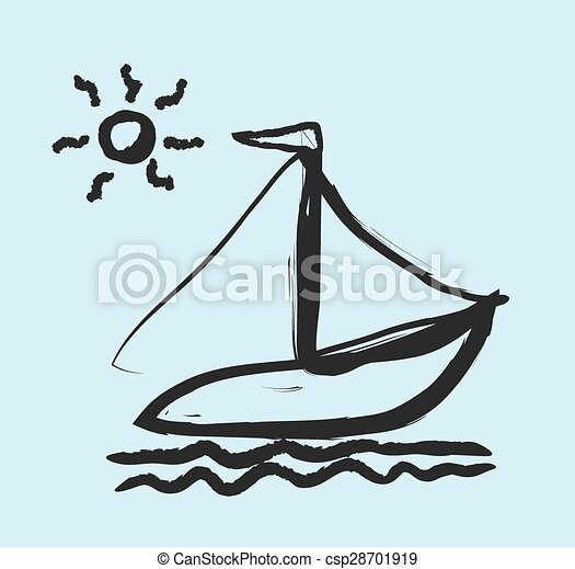 doodle simplified sailboat on waves - csp28701919