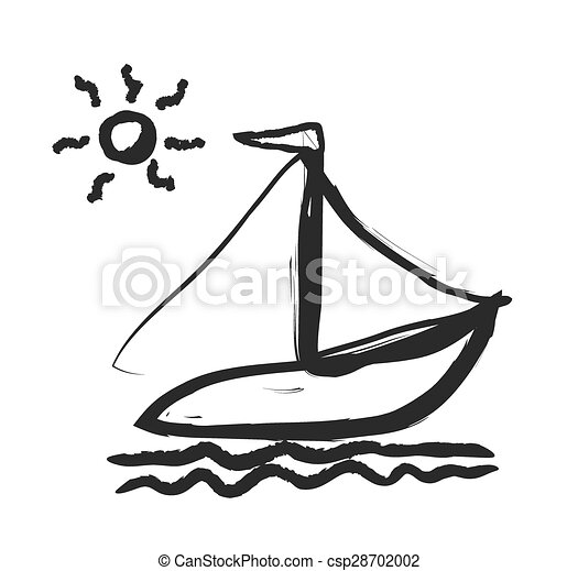 doodle simplified sailboat on waves - csp28702002