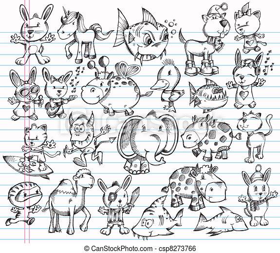 Doodle Sketch Animal Vector set - csp8273766