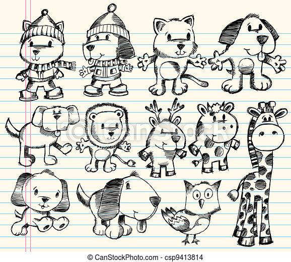 Doodle Sketch Animal Vector Set - csp9413814