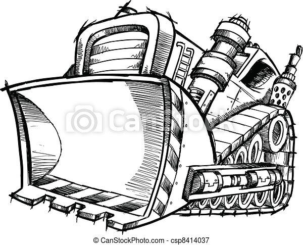 Doodle Sketch Bulldozer Vector Art - csp8414037