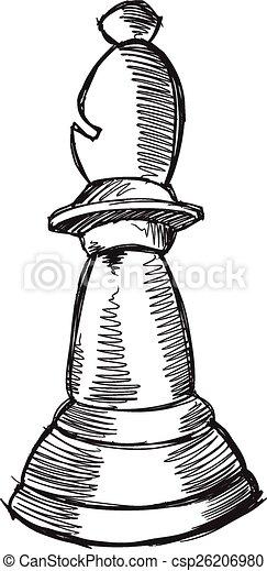 Doodle Sketch Chess Bishop Vector  - csp26206980