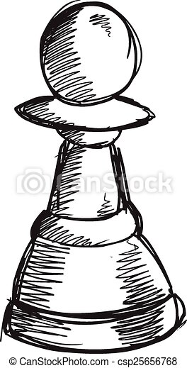 Doodle Sketch Chess Pawn Vector  - csp25656768
