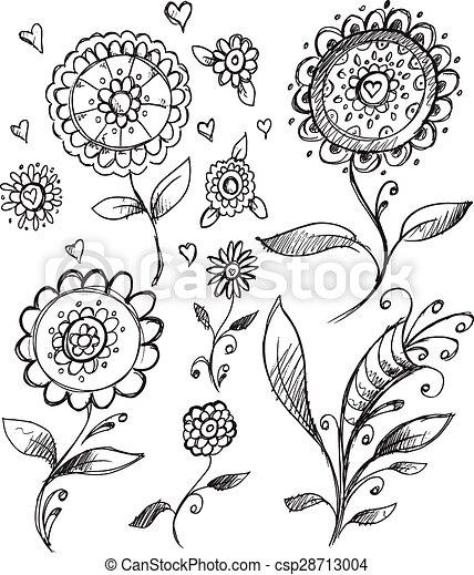 Doodle Sketch Flower Vector Set - csp28713004