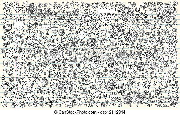 Doodle Sketch Flowers Spring set - csp12142344