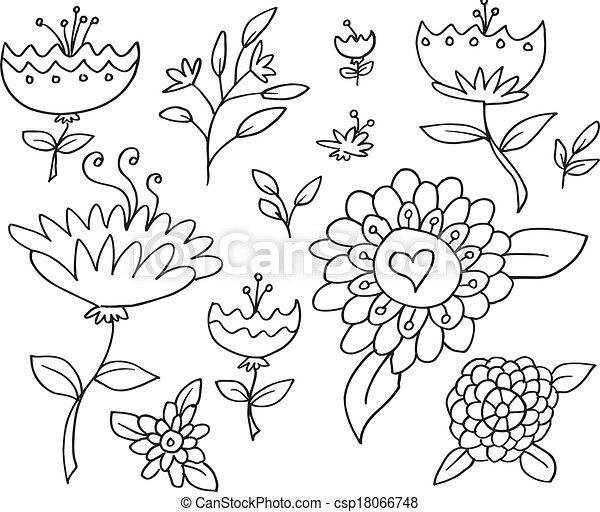 Doodle Sketch Flowers Spring Vector - csp18066748
