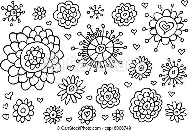 Doodle Sketch Flowers Spring Vector - csp18066749