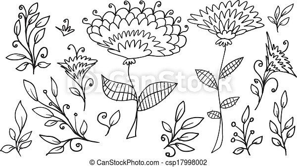 Doodle Sketch Flowers Spring Vector - csp17998002