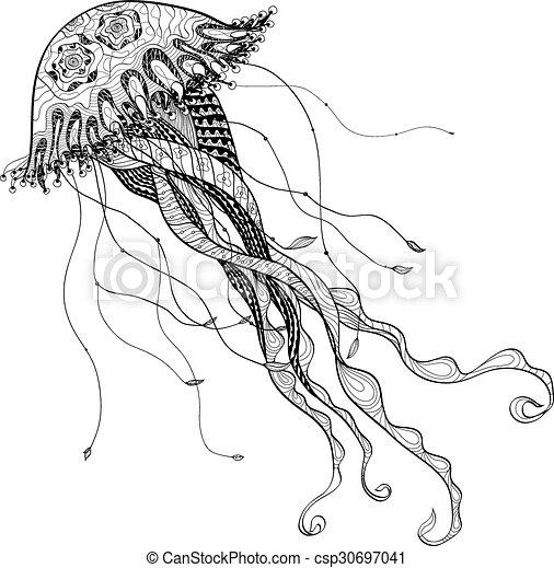 Doodle sketch medusa jellyfish black line - csp30697041