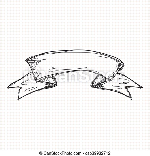doodle sketch of a banner on graph paper background csp39932712