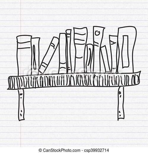 Doodle Sketch Of A Bookshelf On Paper Background