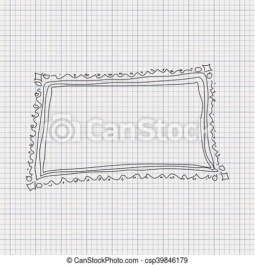 doodle sketch of a frame on graph paper background csp39846179