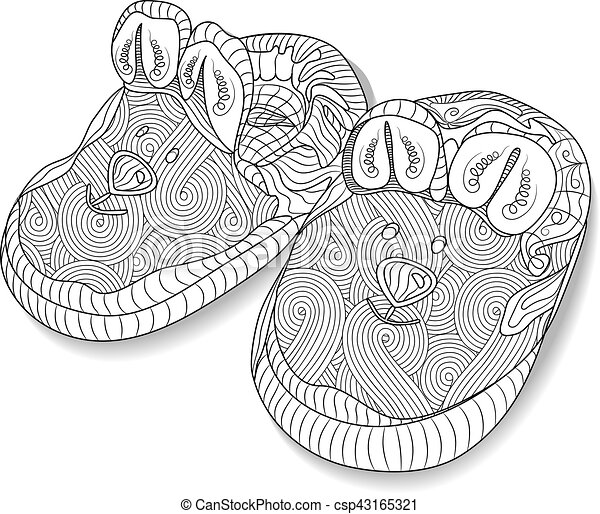 Doodle Sketch Of Baby Bootees In Black And White Zentangle Design Coloring Book For Adult Older
