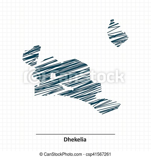Doodle sketch of dhekelia map vector illustration clip art vector
