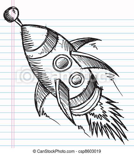 Doodle Sketch Rocket Vector - csp8603019