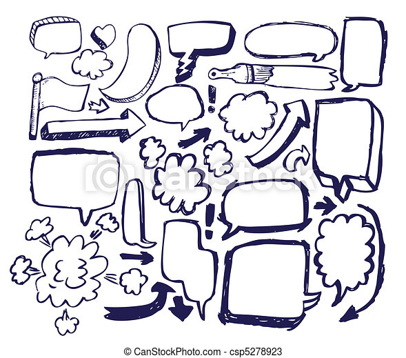 Doodle Sketch Speech Bubble Arrow V - csp5278923