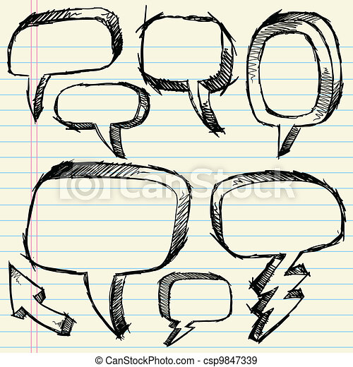 Doodle Sketch Speech Bubble set - csp9847339