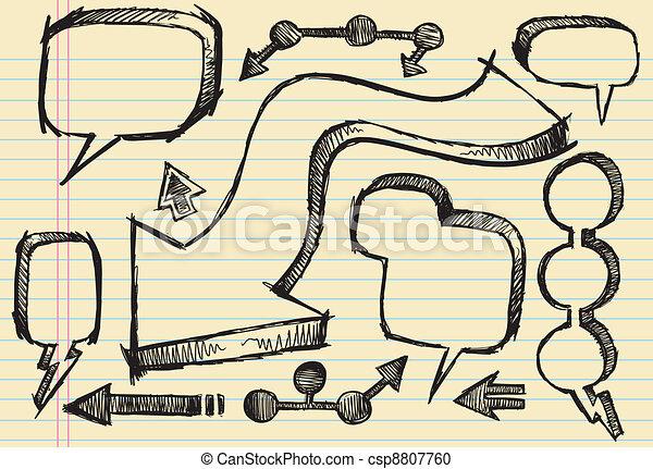 Doodle Sketch Speech Bubble set - csp8807760