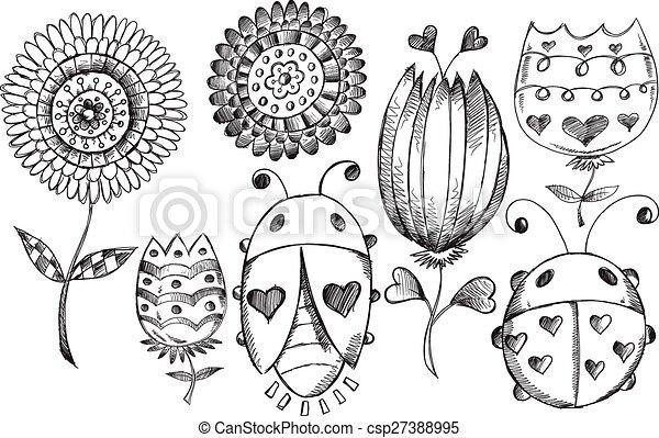Doodle Sketch Spring Flower Bug set - csp27388995