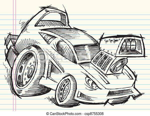 Doodle Sketch Street Car Vector - csp8755308