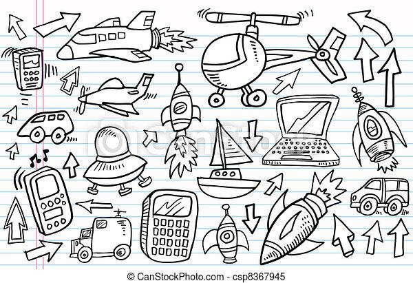 Doodle Sketch transportation set - csp8367945