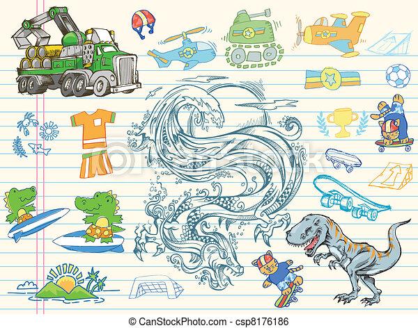 Doodle Sketch Vector Elements set - csp8176186