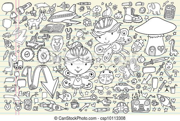 Doodle Sketch Vector Elements Set - csp10113308