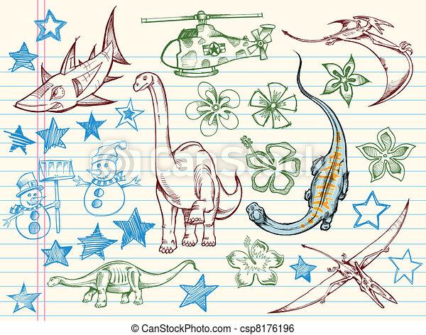 Doodle Sketch Vector Set - csp8176196