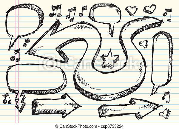 Doodle Sketch Vector Set - csp8733224
