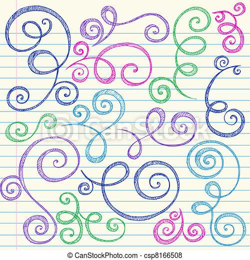 doodle, sketchy, vector, set, swirls - csp8166508