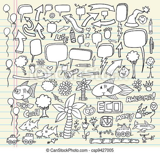 Doodle Speech Bubble vector set - csp9427005
