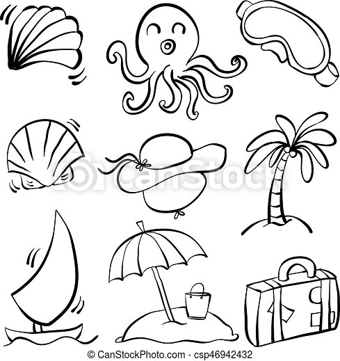 Doodle Summer Object Hand Draw Vector Art