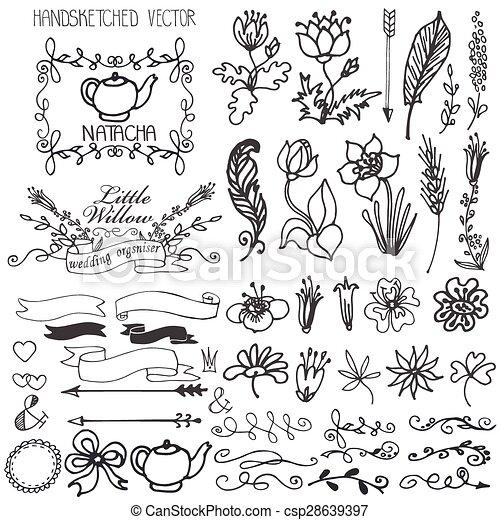 doodle swirls ribbons floral decor element for logo doodles flowers