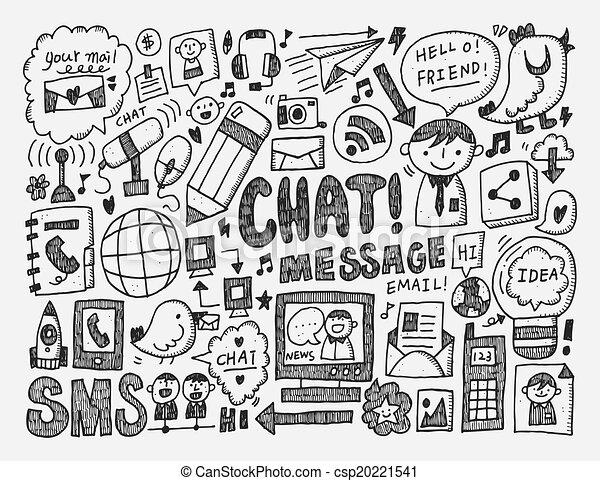 doodle, tło, komunikacja - csp20221541