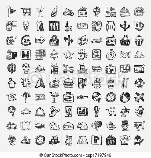 doodle travel icons set - csp17197946