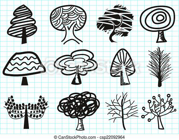 doodle tree icons - csp22092964