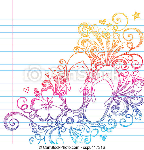 doodle, trzepnięcie, sketchy, vec, fiaska, plaża - csp8417316