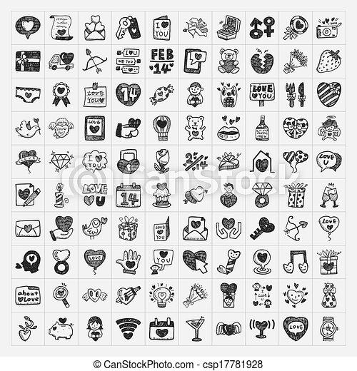 doodle Valentine's Day icon - csp17781928