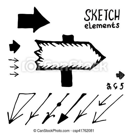 Doodle vector arrows vector set. Sketch elements - csp41762081