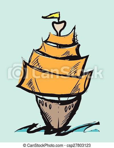doodle vector colorful cartoon sail - csp27803123